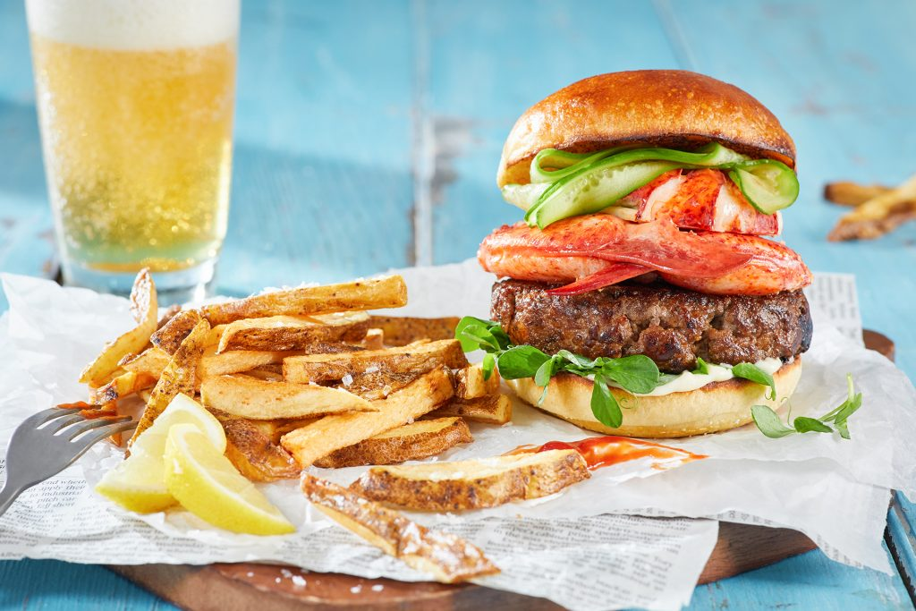 Surf n' Turf Lobster and Beef Burger with Crispy Oven Fries