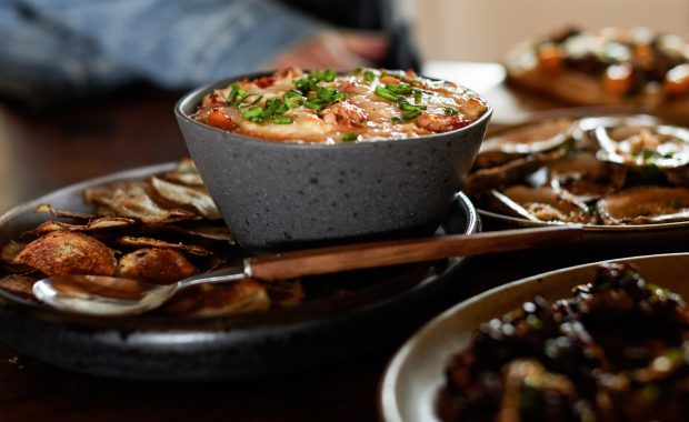 Rock Crab Dip with Homemade Potato Chips